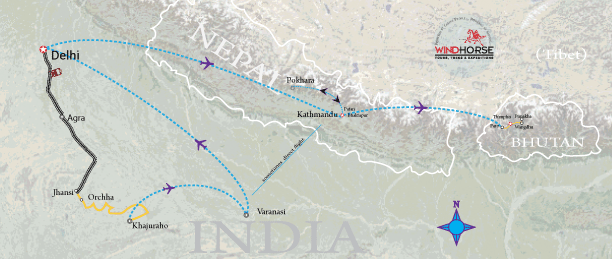 India, Nepal & Bhutan Odyssey Trip Map, Route Map
