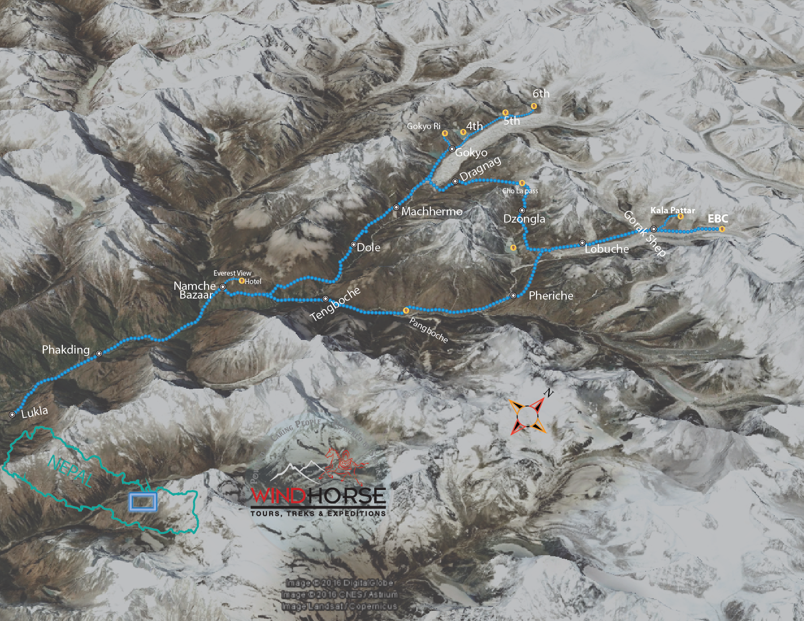 Everest Base Camp with Gokyo Lakes Trip Map, Route Map