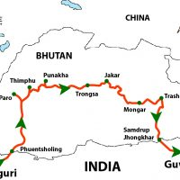 Motorbiking in Bhutan Tour Map
