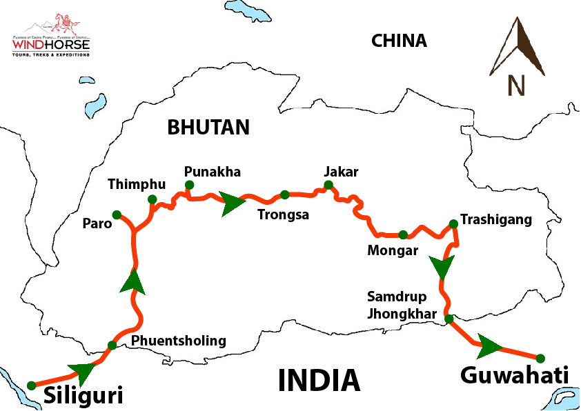 Motorbiking Tour in Bhutan – The Land of Thunder Dragon Trip Map, Route Map
